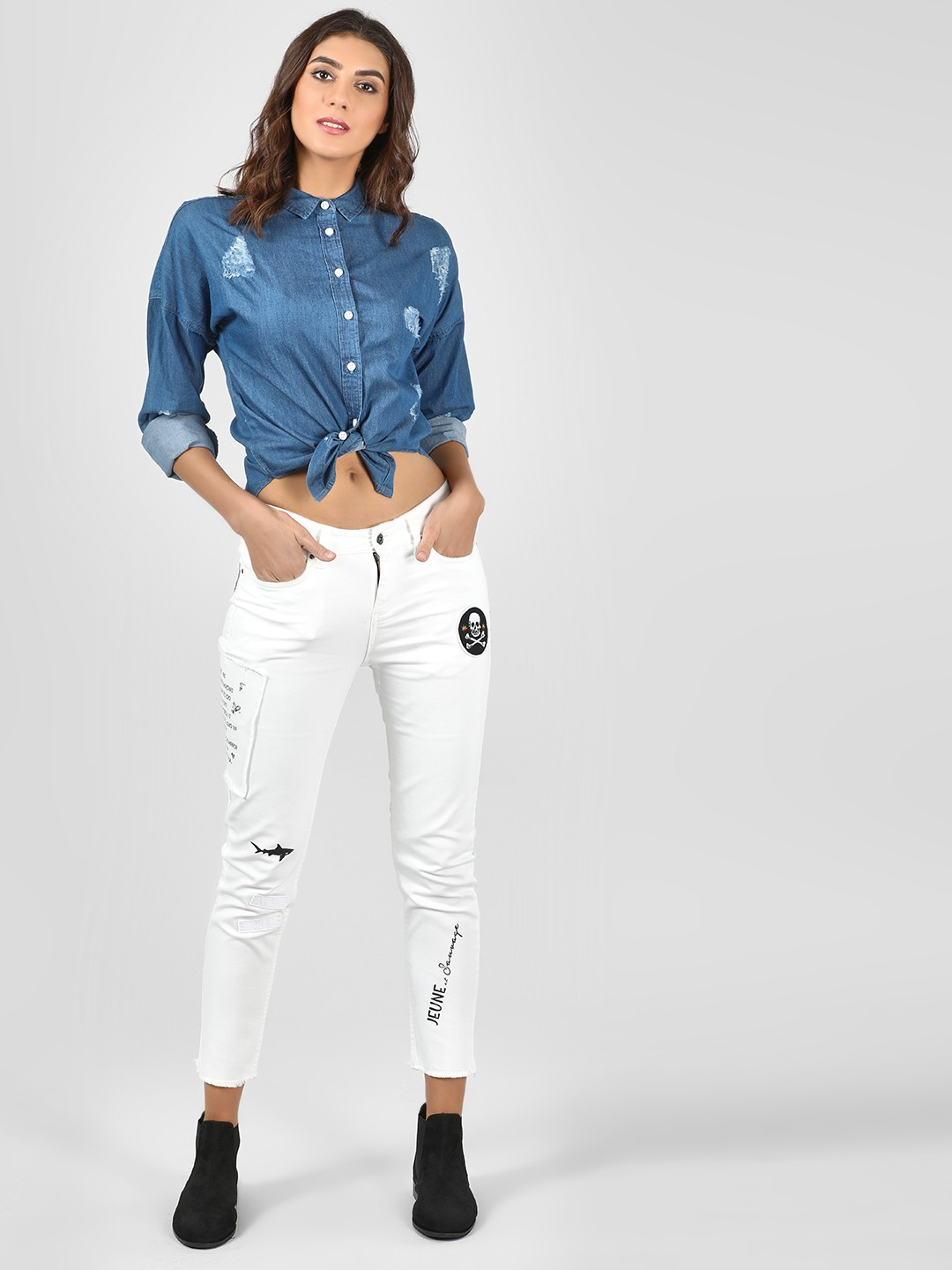 Blue Saint White Text Patchwork Slim Jeans 1
