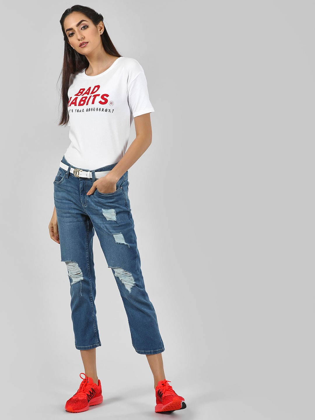 Blue Saint Blue Distressed Cropped Boyfriend Jeans 1