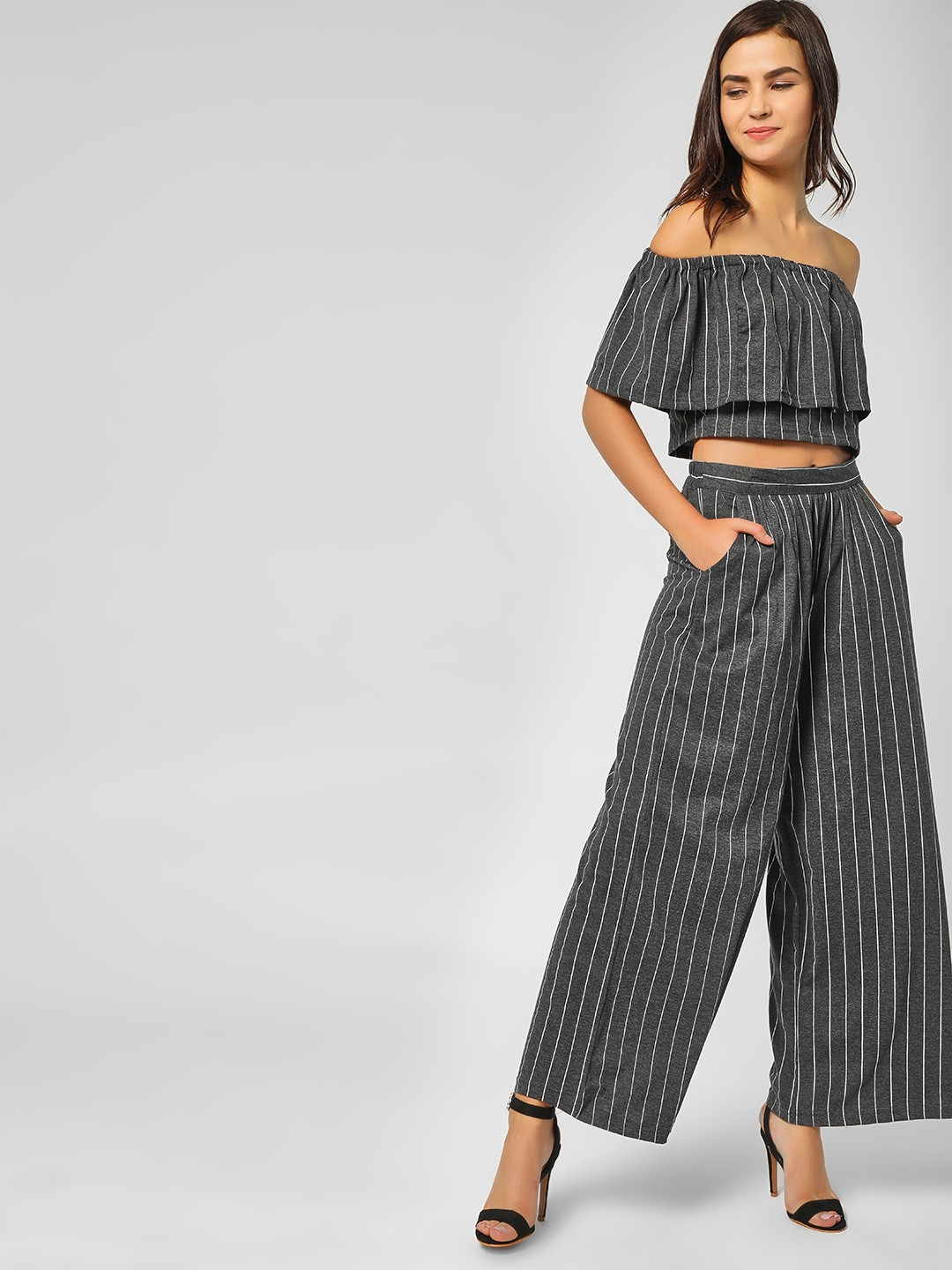 Spring Break Grey Striped Flared Trousers 1