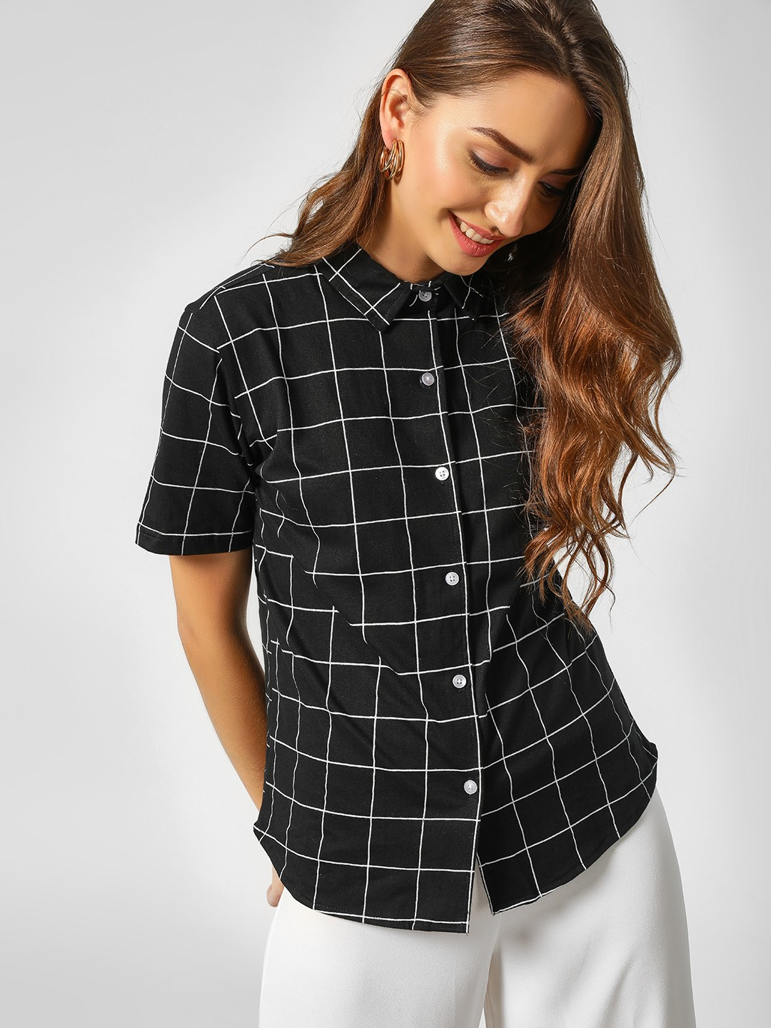 Spring Break Black Back Tie Grid Print Shirt 1