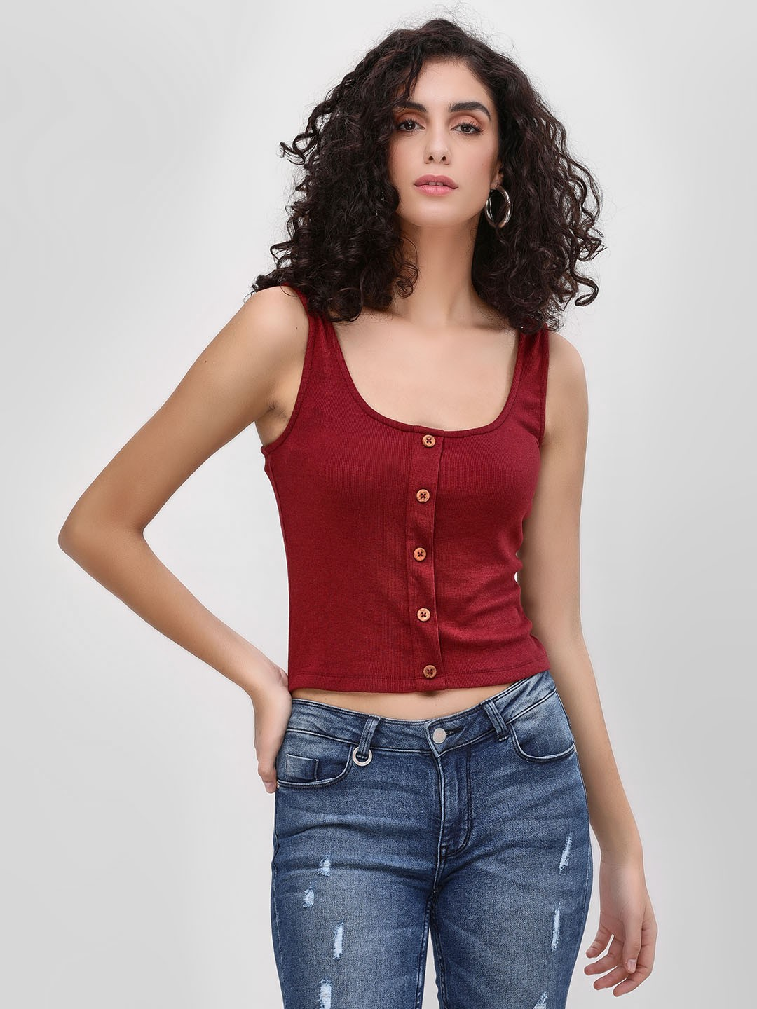 Sbuys Maroon Button Sleeveless Crop Top 1
