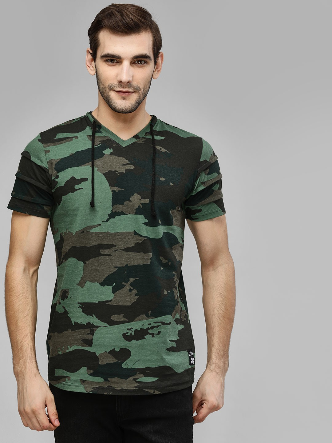 Kultprit GREEN CAMO Camo Print T-Shirt With Draw Cord 1