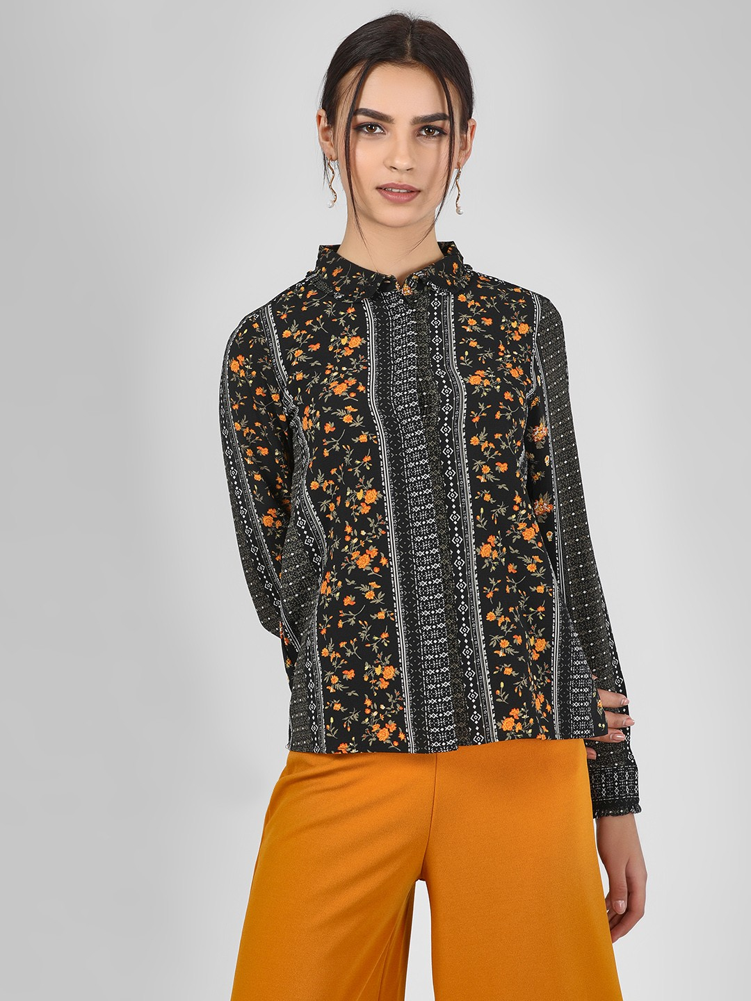 Vero Moda Black Floral Printed Long Sleeve Shirt 1