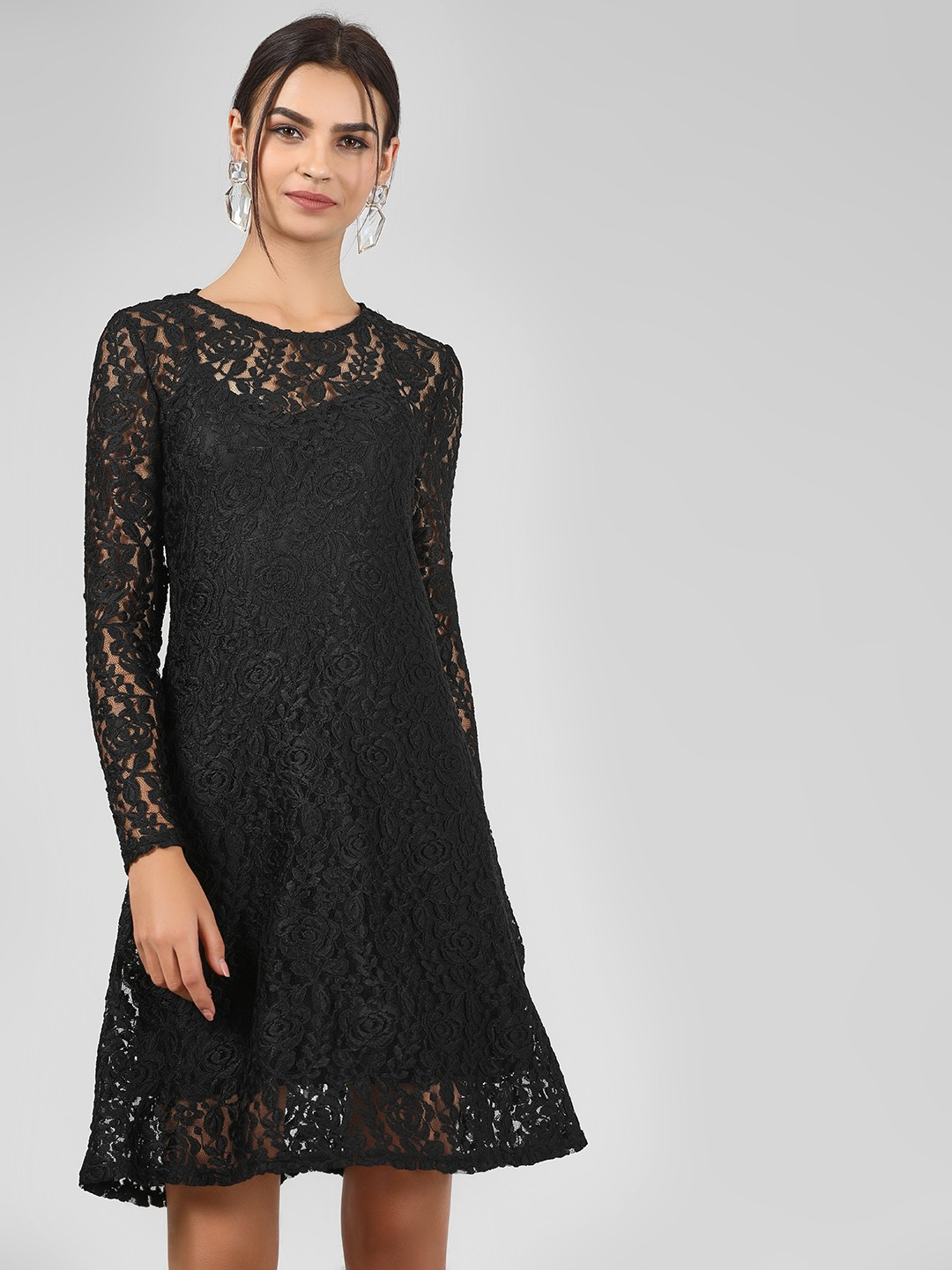 Vero Moda Black Floral Lace Skater Dress 1