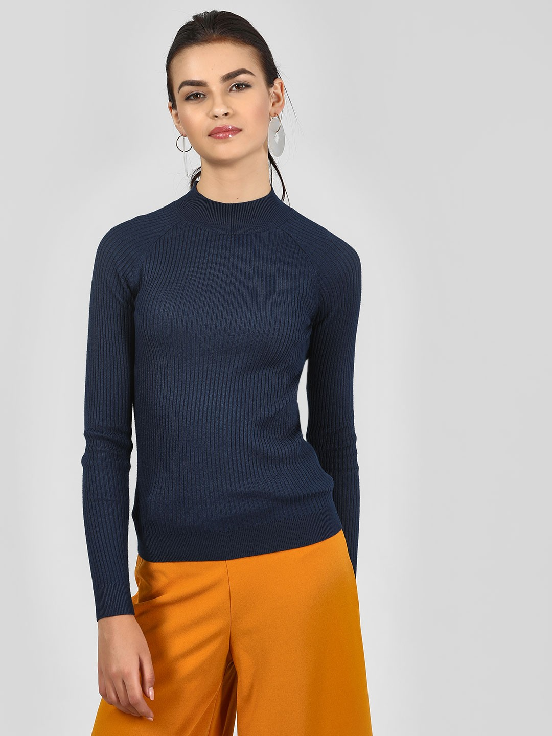 New Look Navy Stand Neck Pullover 1