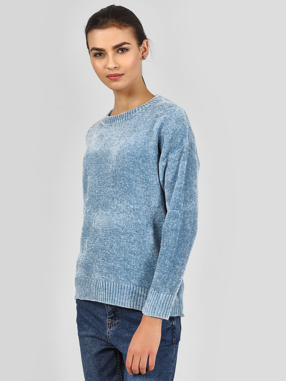 New Look Light Blue Textured Long Sleeve Pullover 1