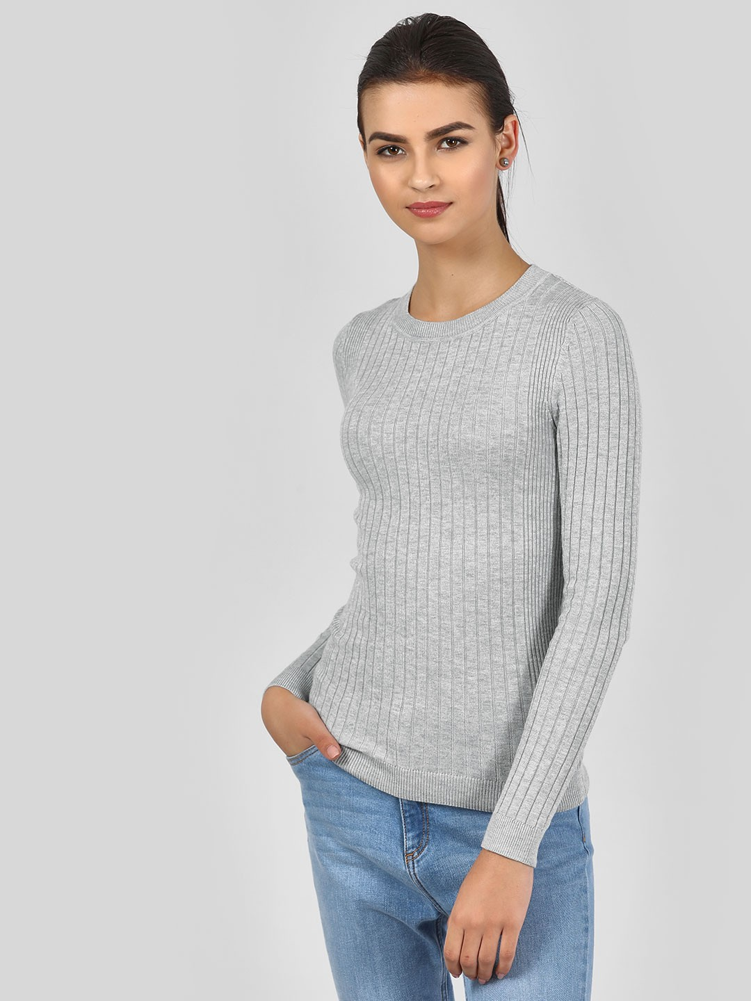 New Look Light Grey Ribbed Long Sleeve Top 1