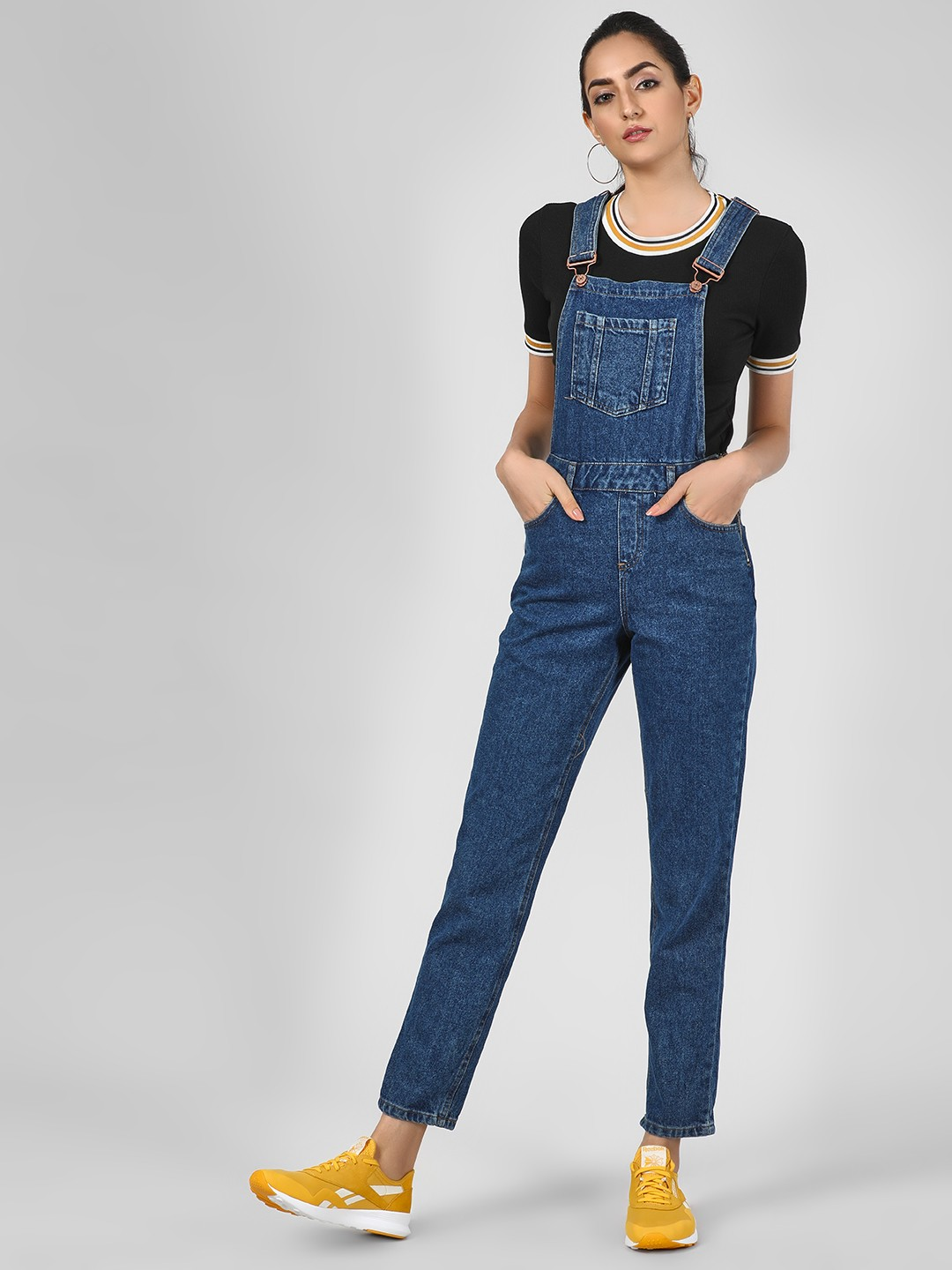 New Look Mid Blue Basic Dungaree With Pocket Detail 1