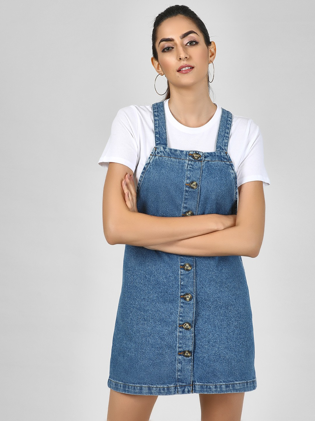 New Look Mid Blue Button Closure Dungaree Dress 1