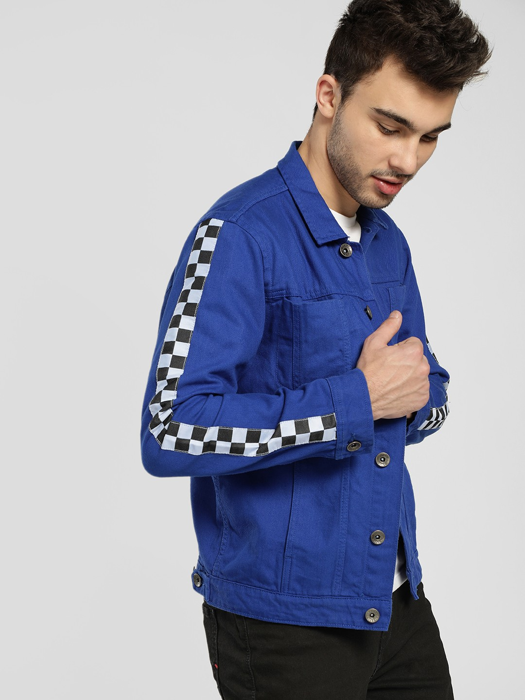 K Denim Blue KOOVS Checkerboard Side Tape Denim Jacket 1
