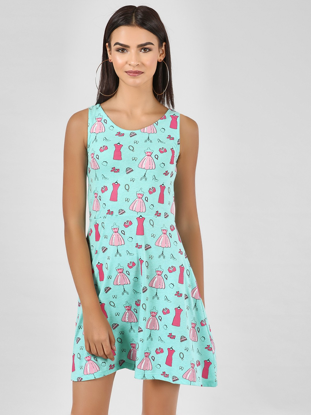 KOOVS Blue Mannequin Print Skater Dress 1