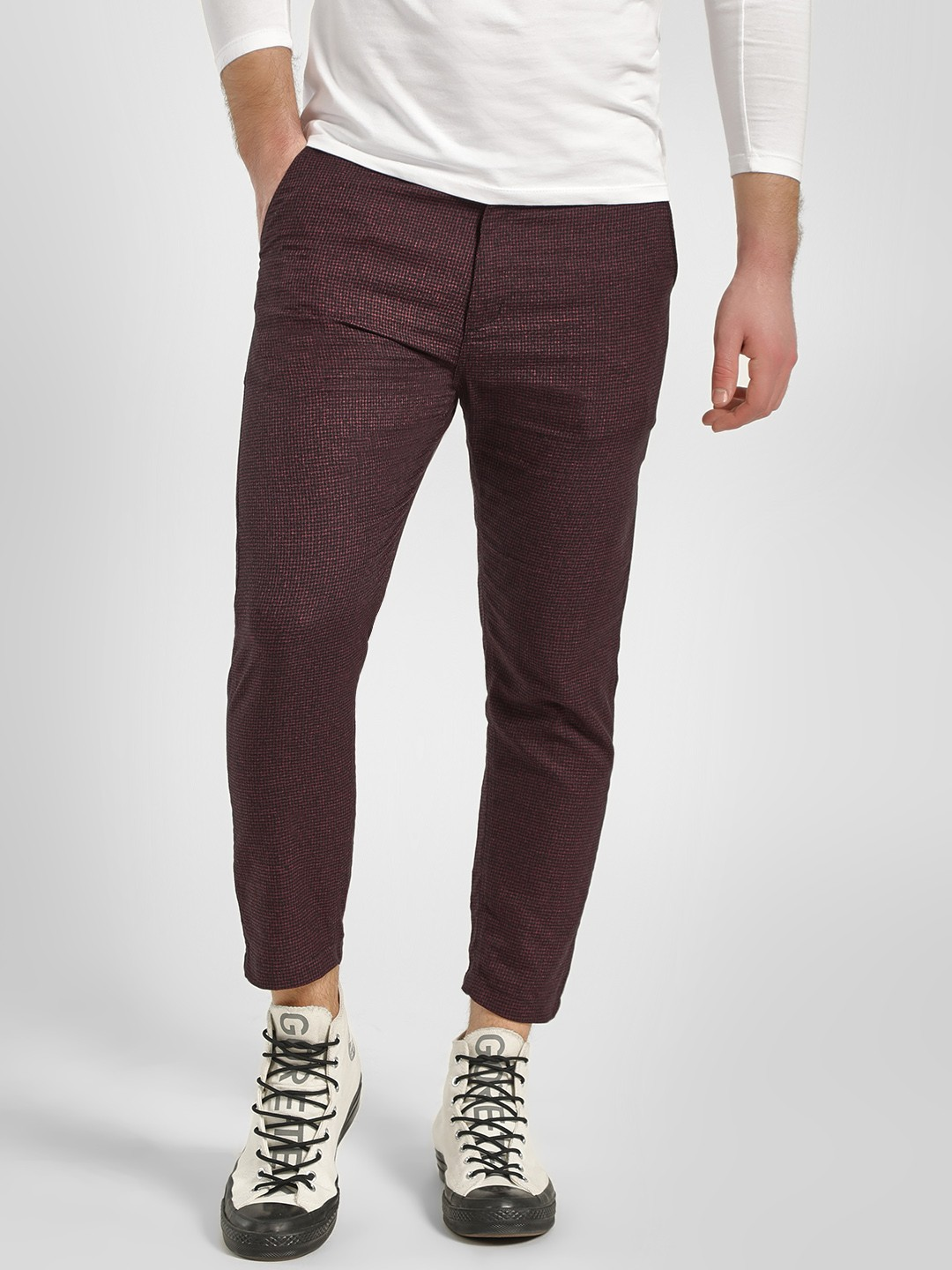 KOOVS Red Micro Check Cropped Chinos 1