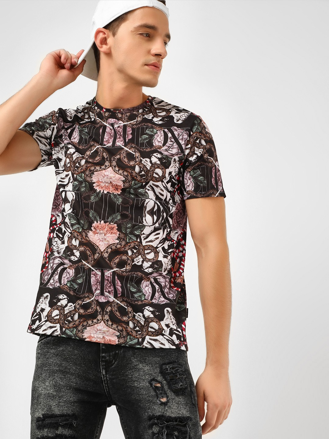 KOOVS Multi Floral Collage Printed T-Shirt 1