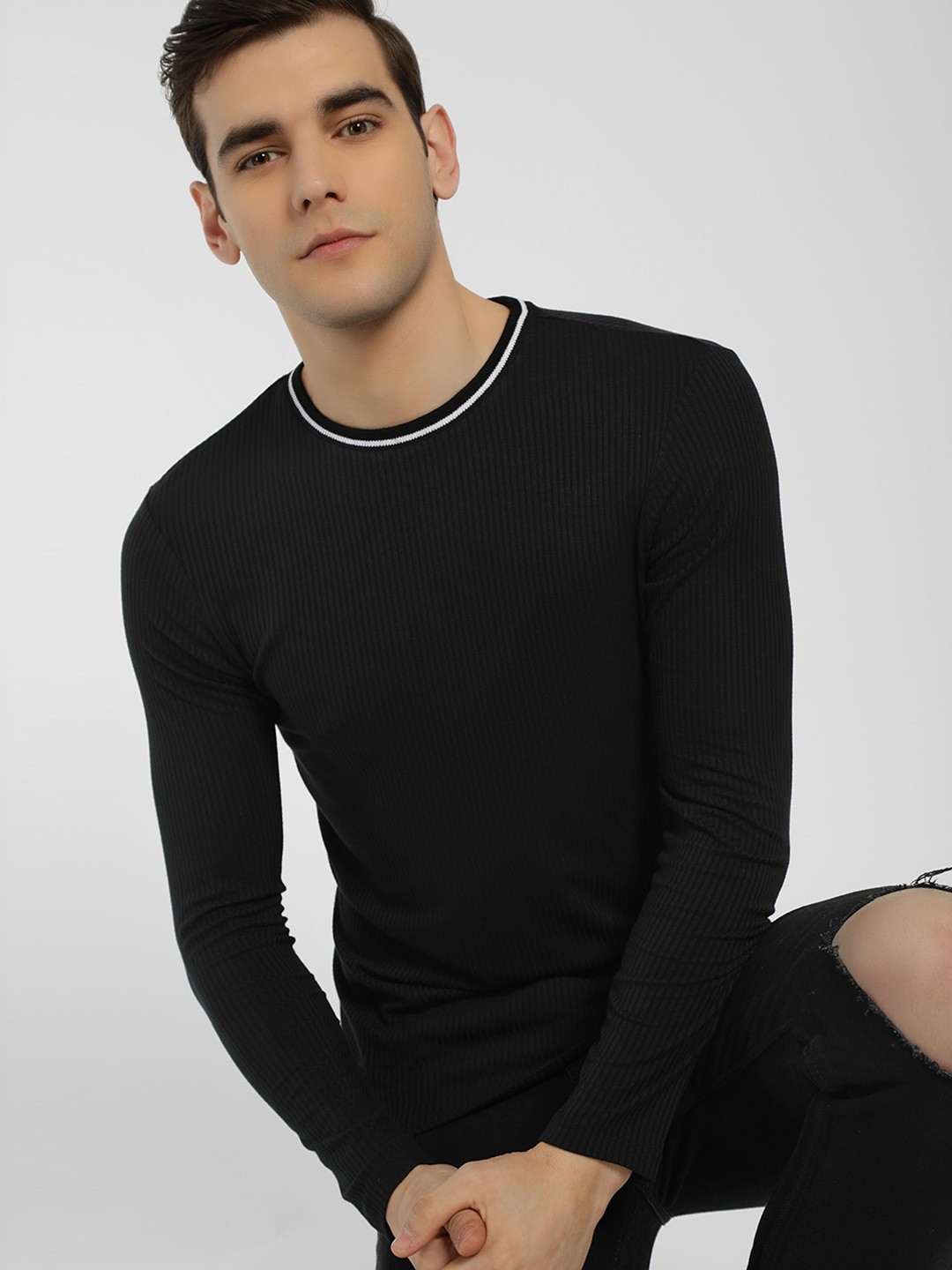 KOOVS Black Tipped Rib Long Sleeve T-Shirt 1