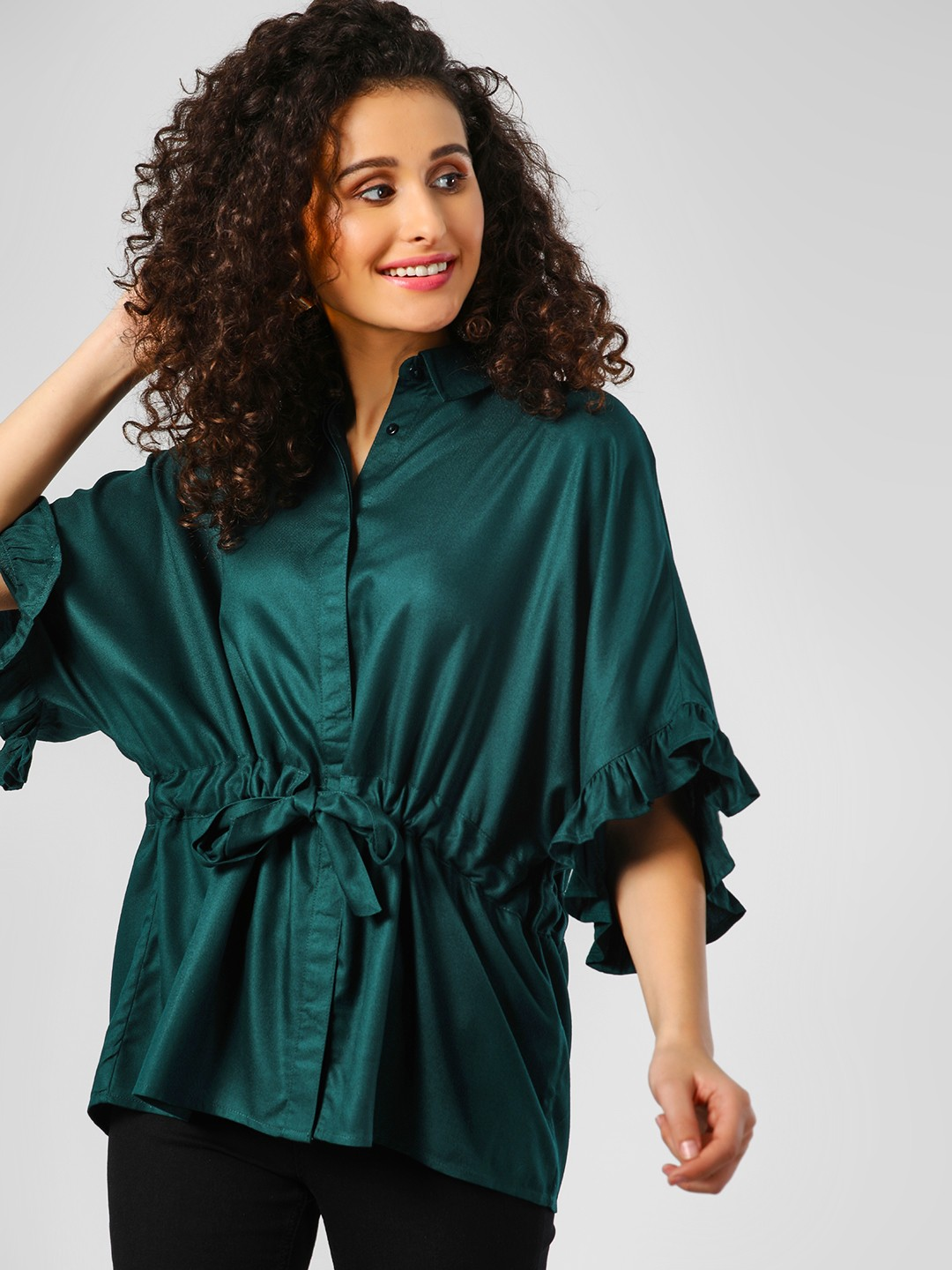 Femella Green Tie Waist Ruffled Shirt 1