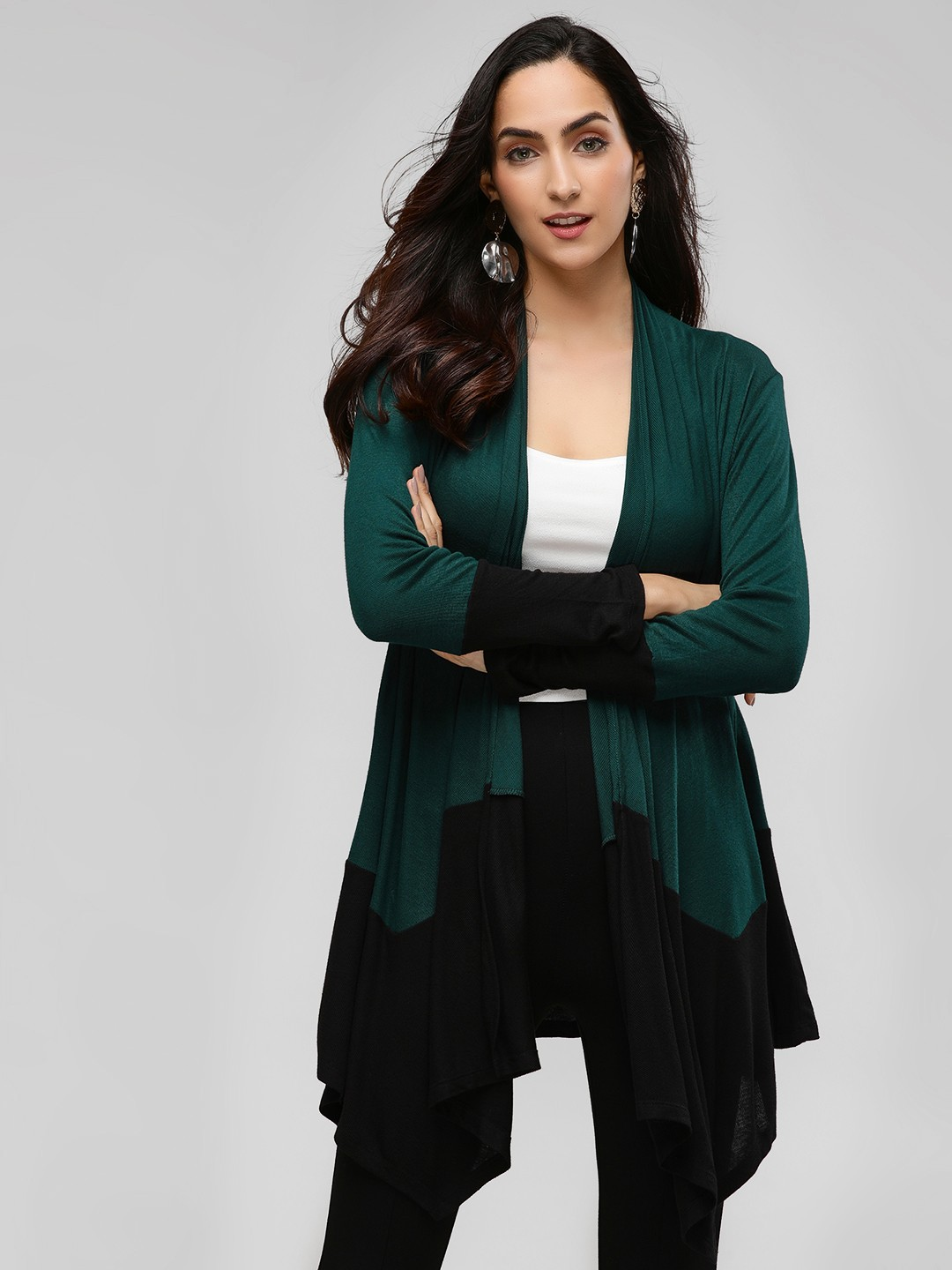Femella Emerald Colour Block Waterfall Shrug 1