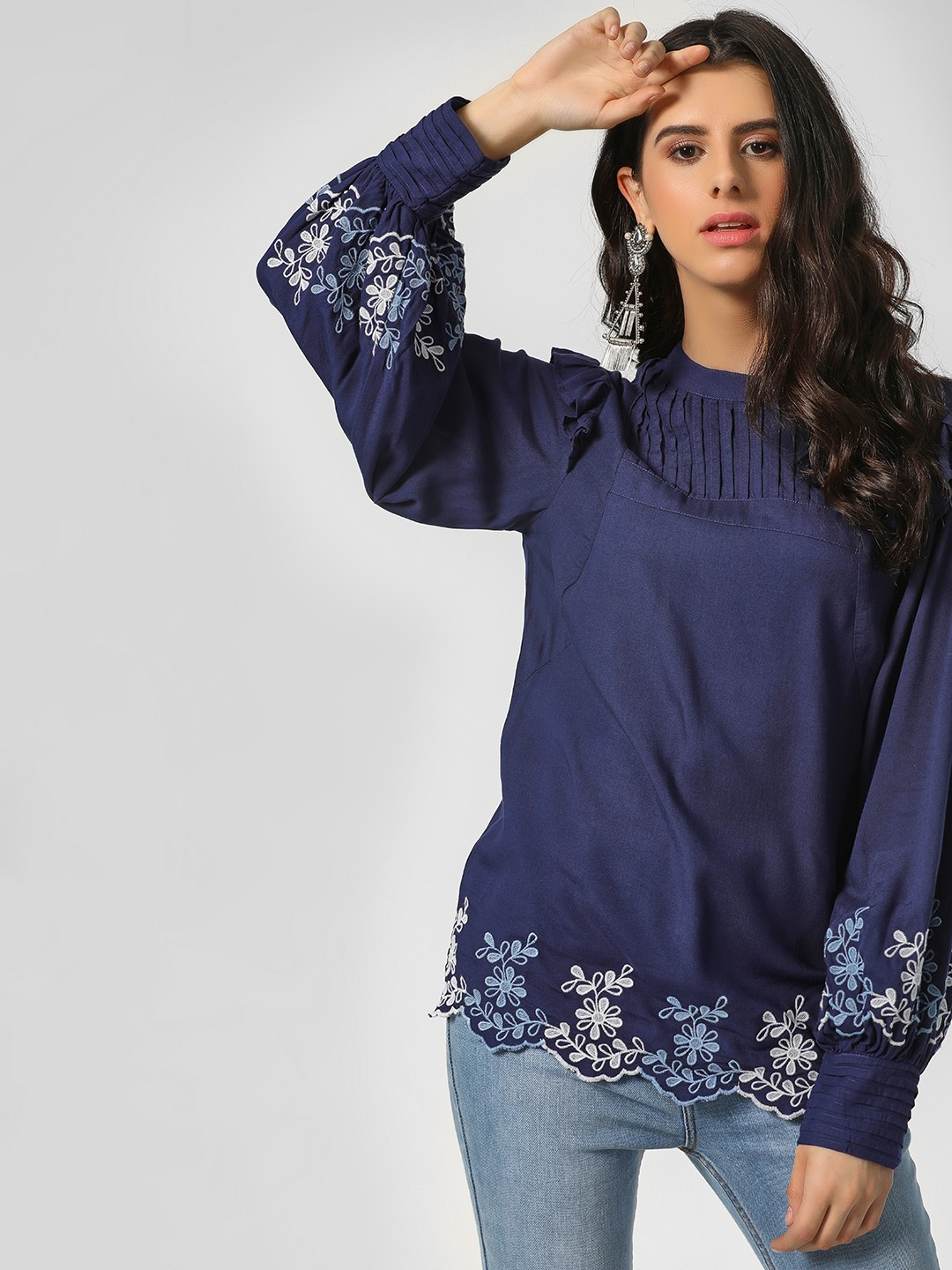 Sbuys Blue Floral Embroidered Scallloped Hem Blouse 1