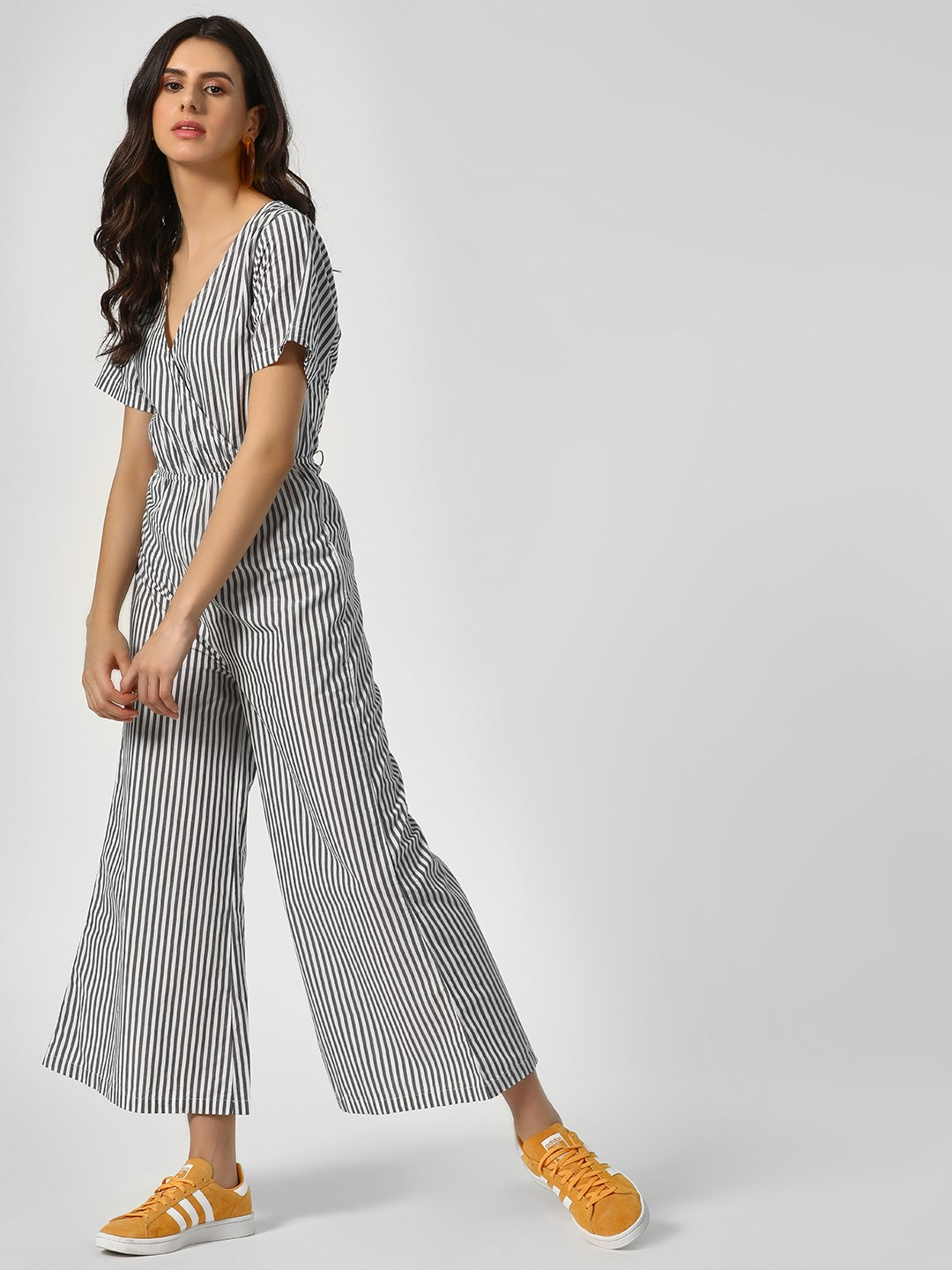 Sbuys Multi Front Wrap Striped Jumpsuit 1