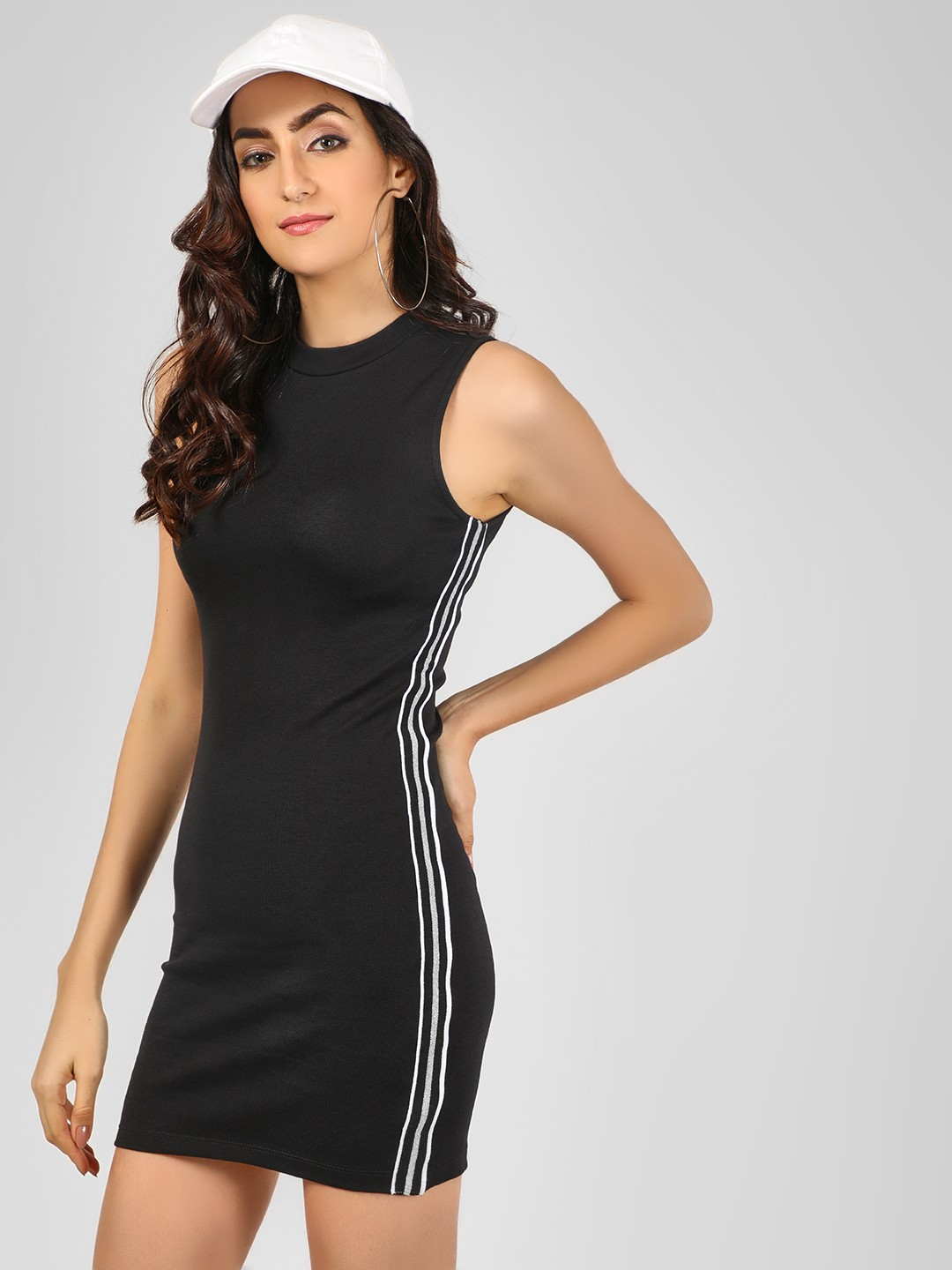 Noble Faith Black Side Stripe Bodycon Dress 1