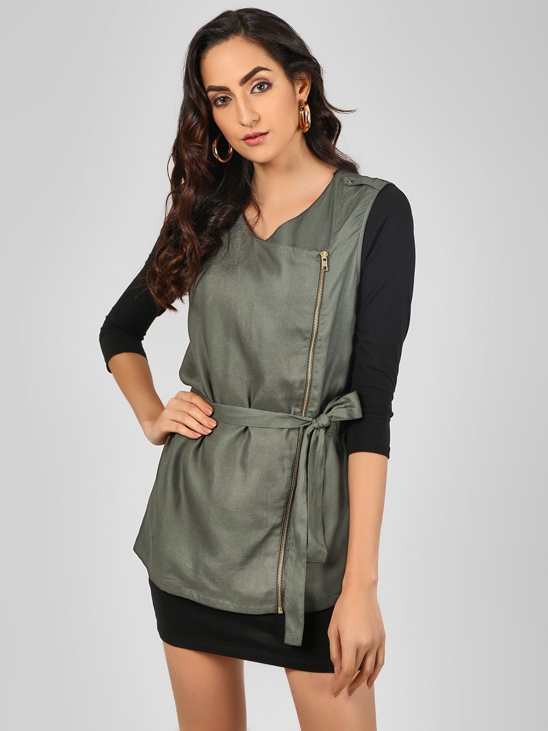 Noble Faith Green Zipper Sleeveless Long Jacket 1