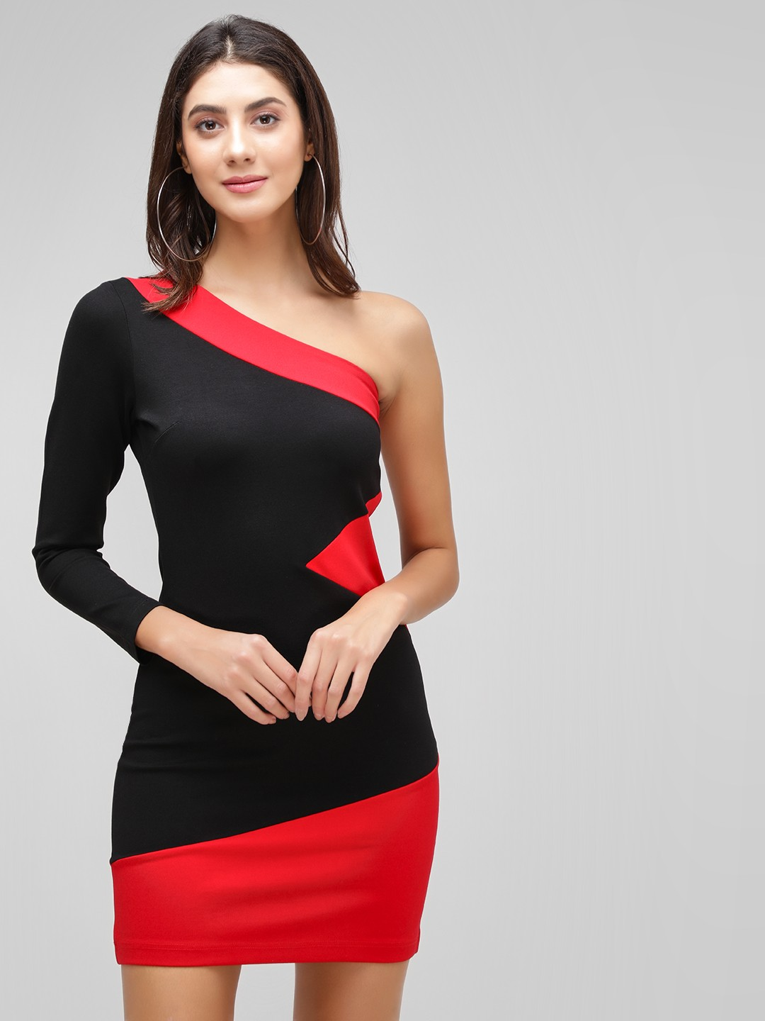 Cover Story Red One Shoulder Bodycon Dress 1