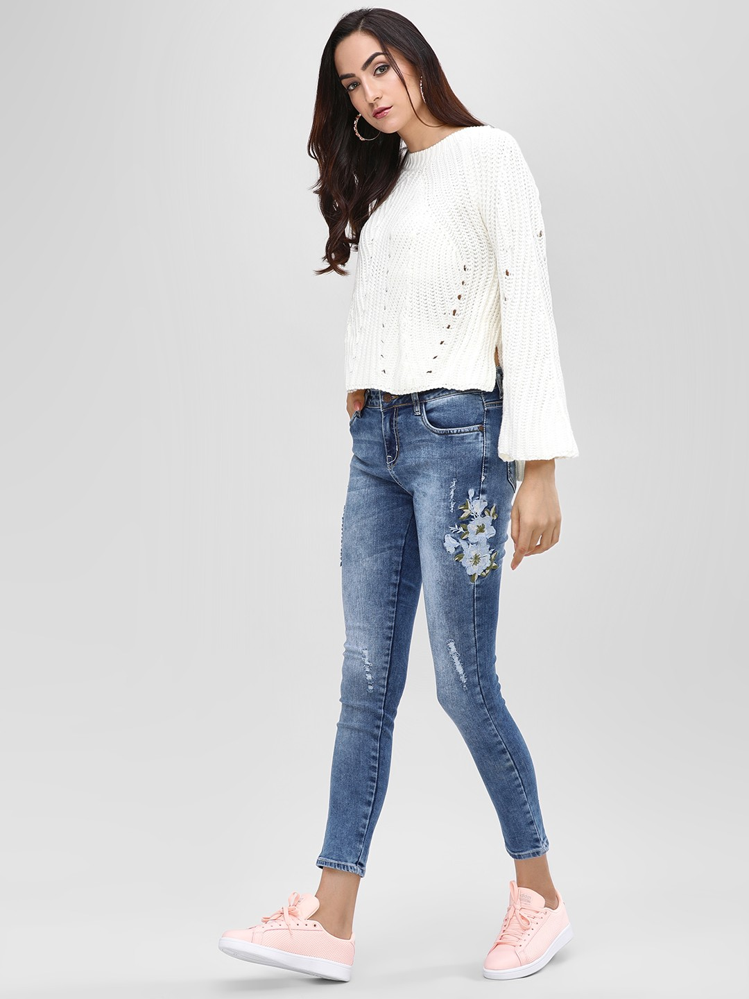 Cover Story Blue Embroidered Cropped Skinny Jeans 1