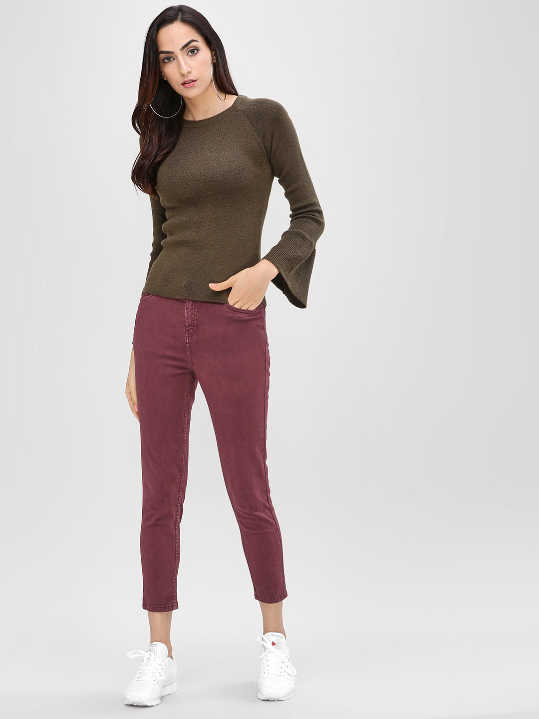 Cover Story Wine Cropped Skinny Jeans 1