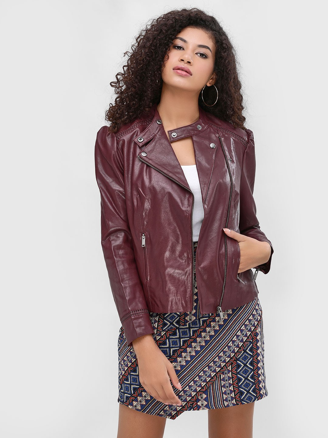 Cover Story Wine Zipper Detail Biker Jacket 1