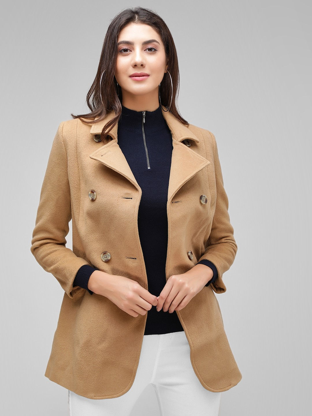 Cover Story Brown Double Breasted A-Line Over Coat 1