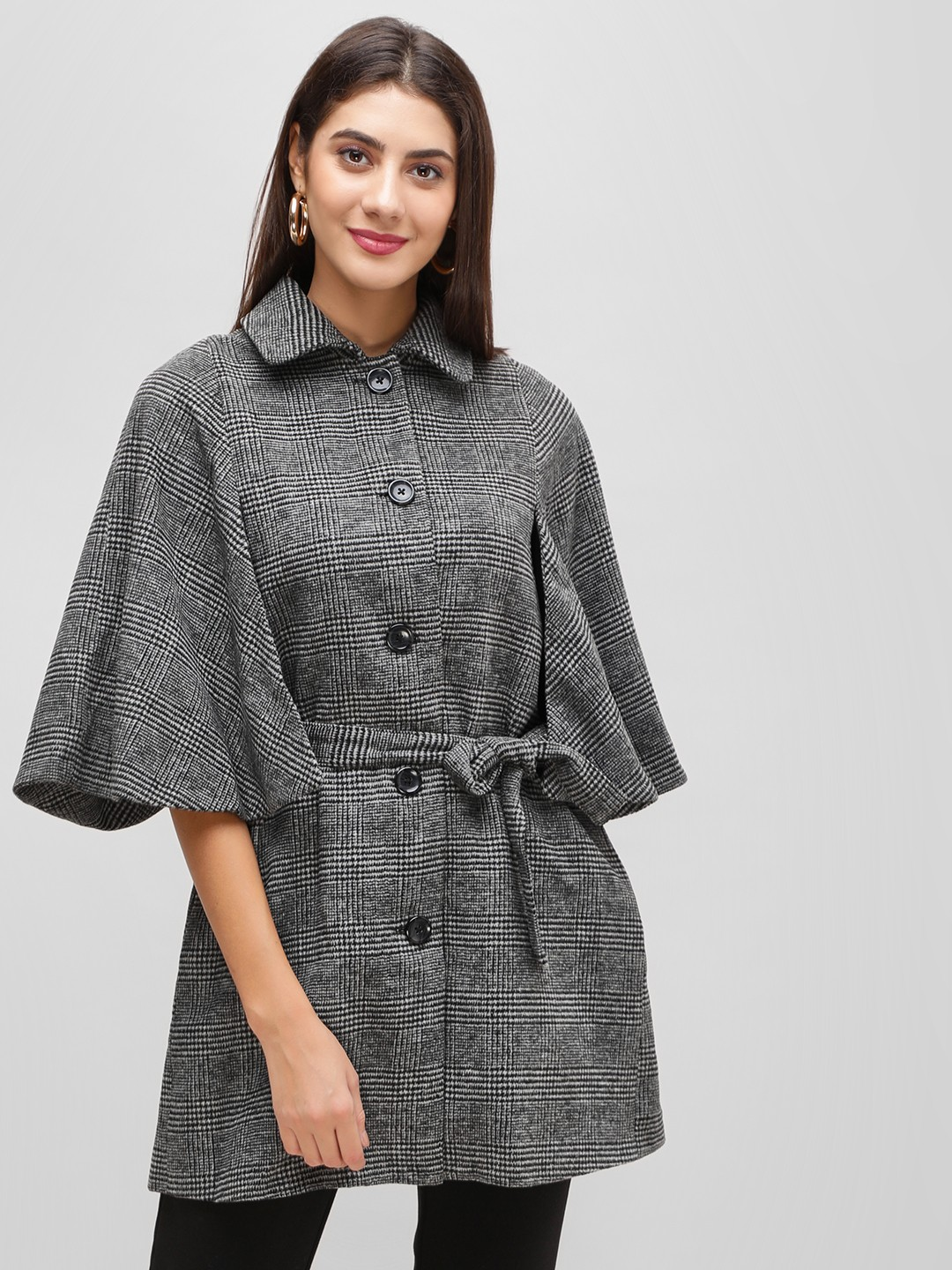 Cover Story Grey Grey Over Coat With Flared Sleeve 1