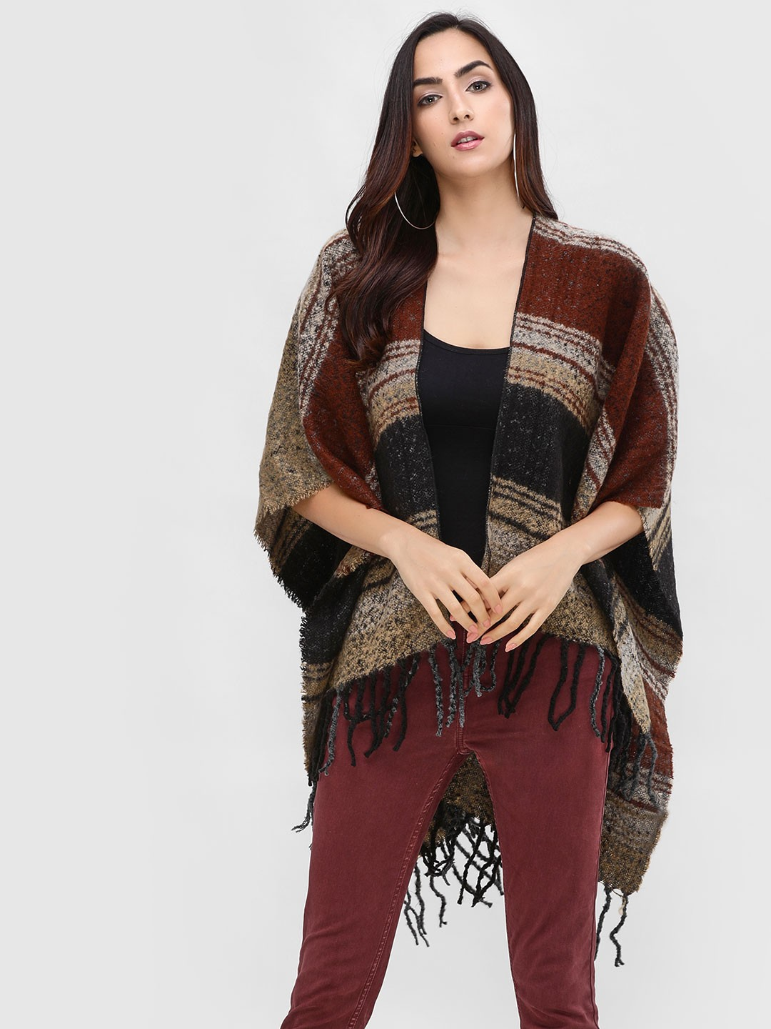Cover Story Multi Poncho With Frayed Hem 1