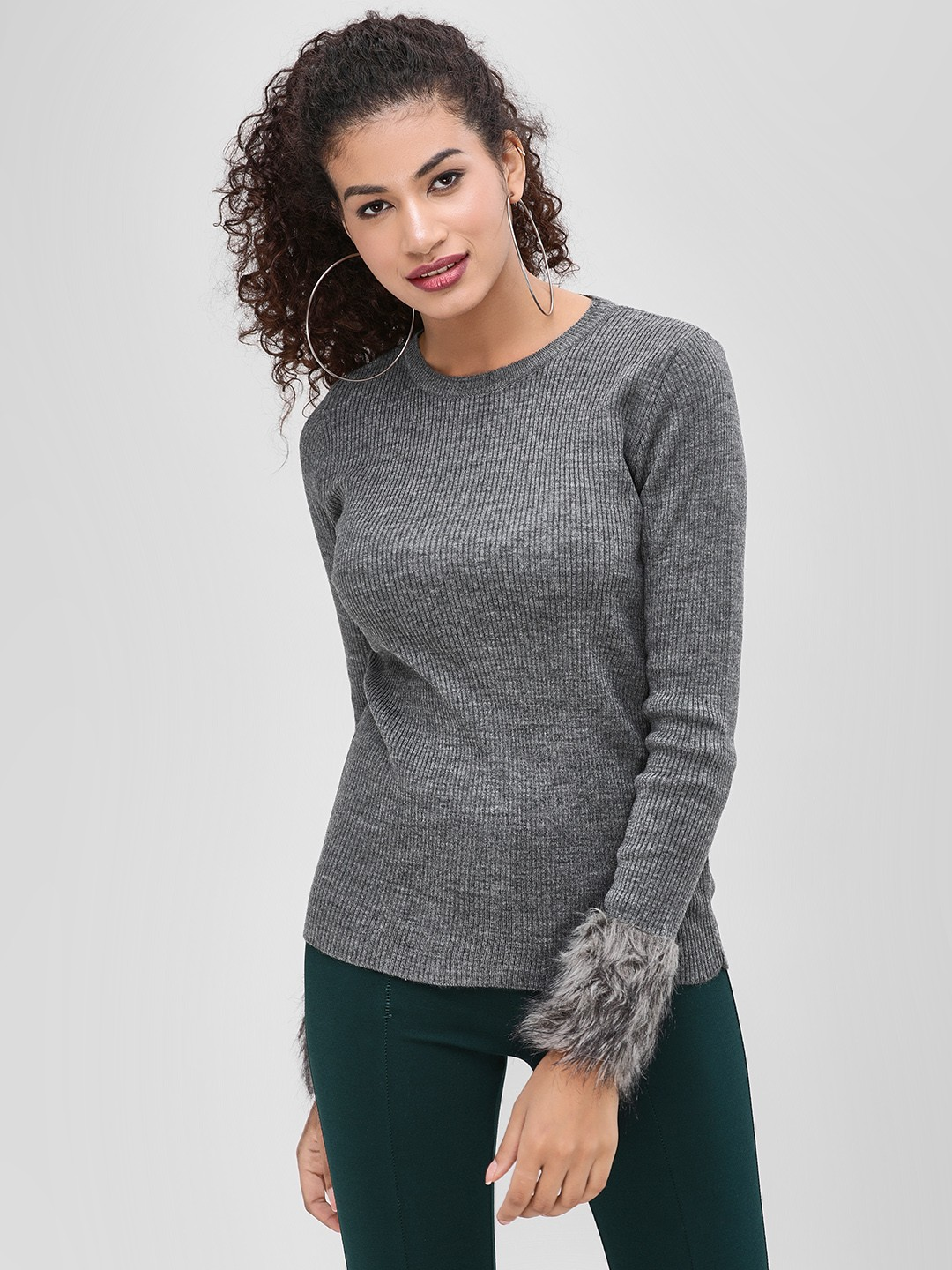 Cover Story Grey Round Neck Pullover With Fur Detail 1
