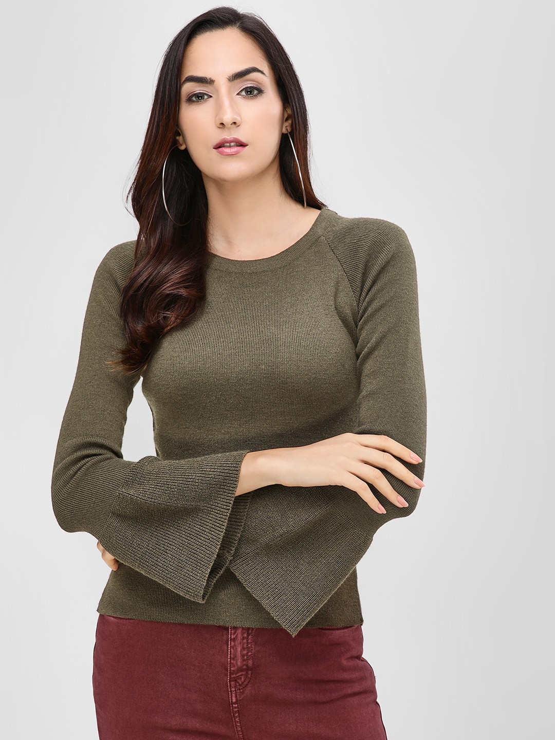 Cover Story Dark Green Round Neck Pullover With Flared Sleeves 1