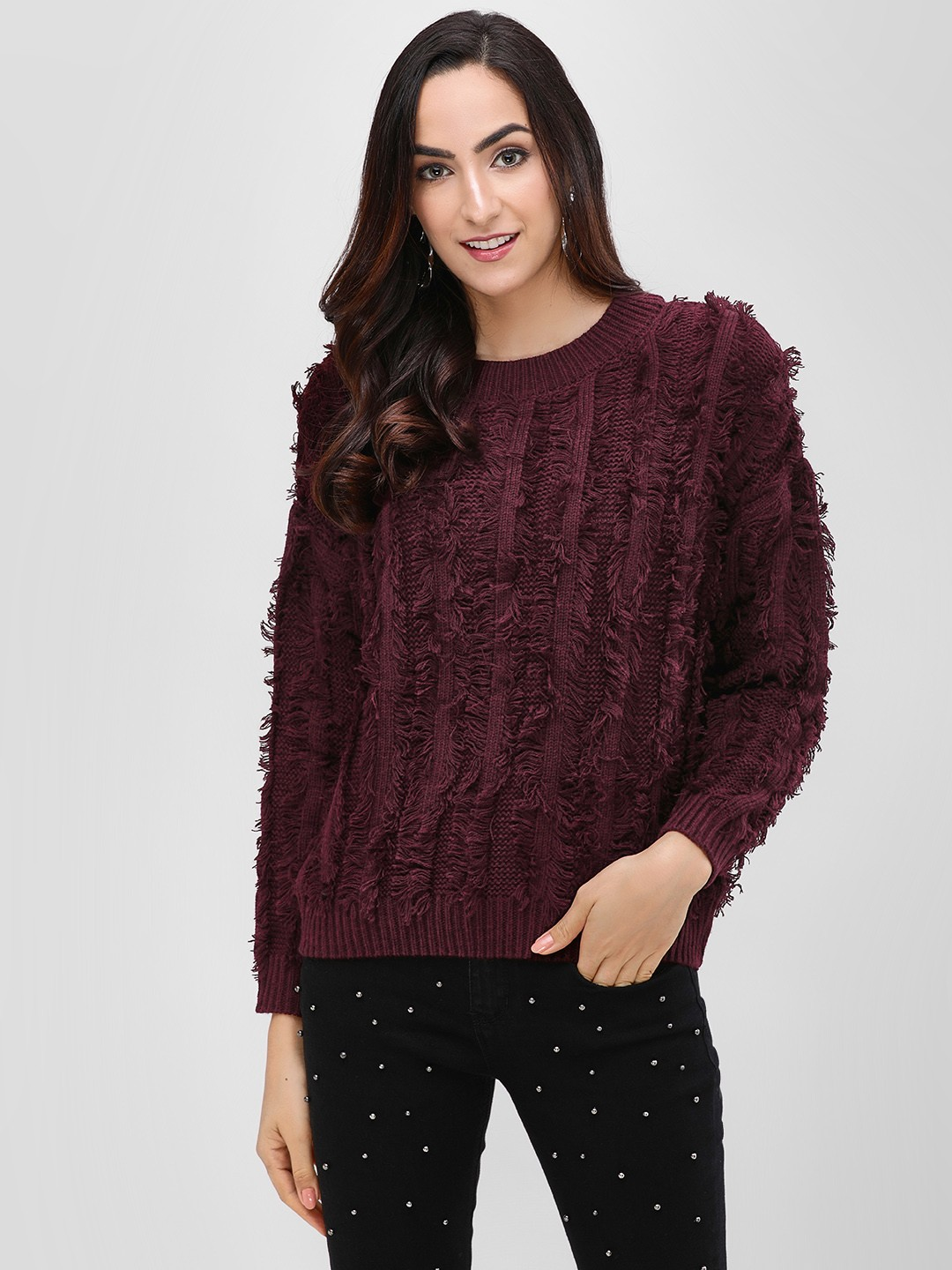 Cover Story Wine Textured Detail Sweater 1