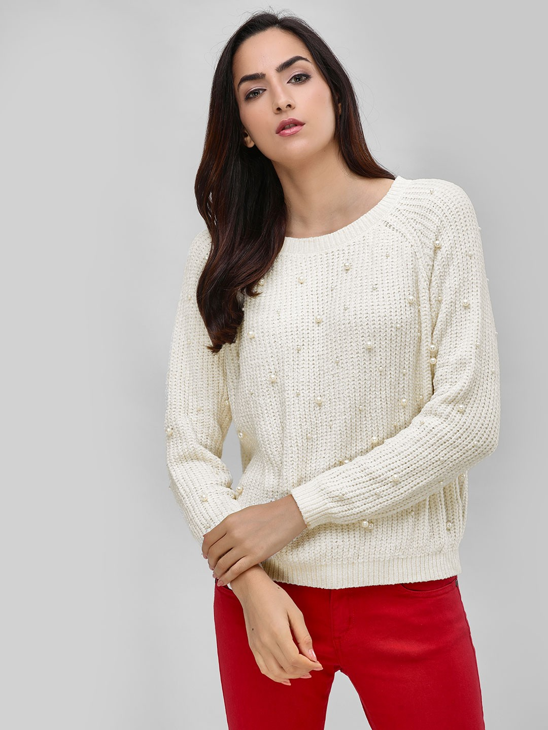 Cover Story Cream Round Pullover With Sleeve Detail 1