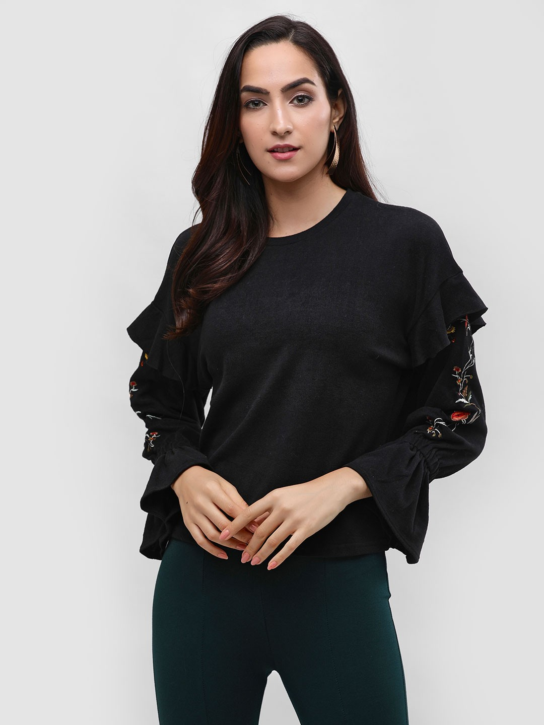 Cover Story Black Floral Embroidered Ruffle Sleeve Sweatshirt 1