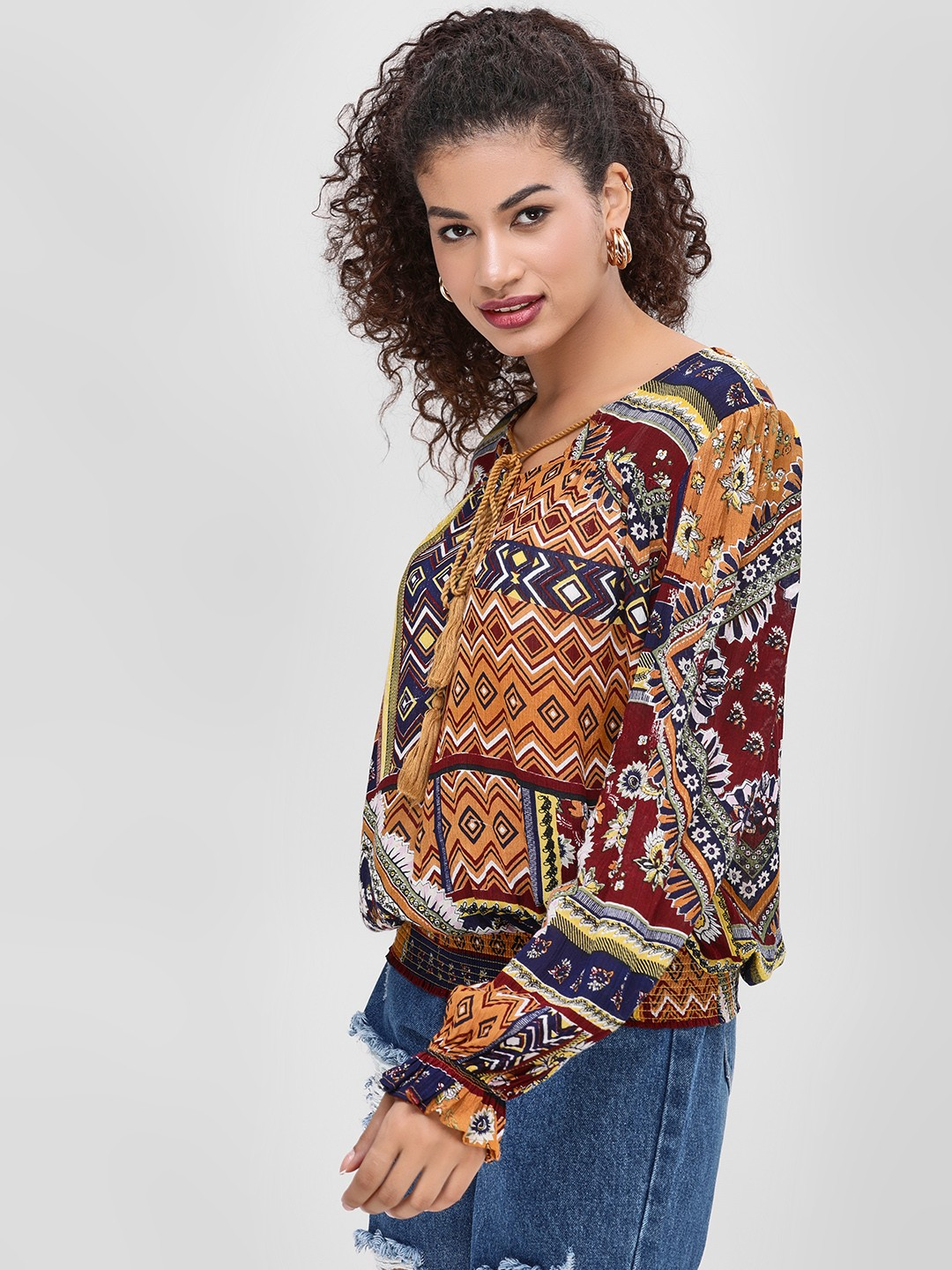 Cover Story Multi Volume Sleeve Printed Blouse 1