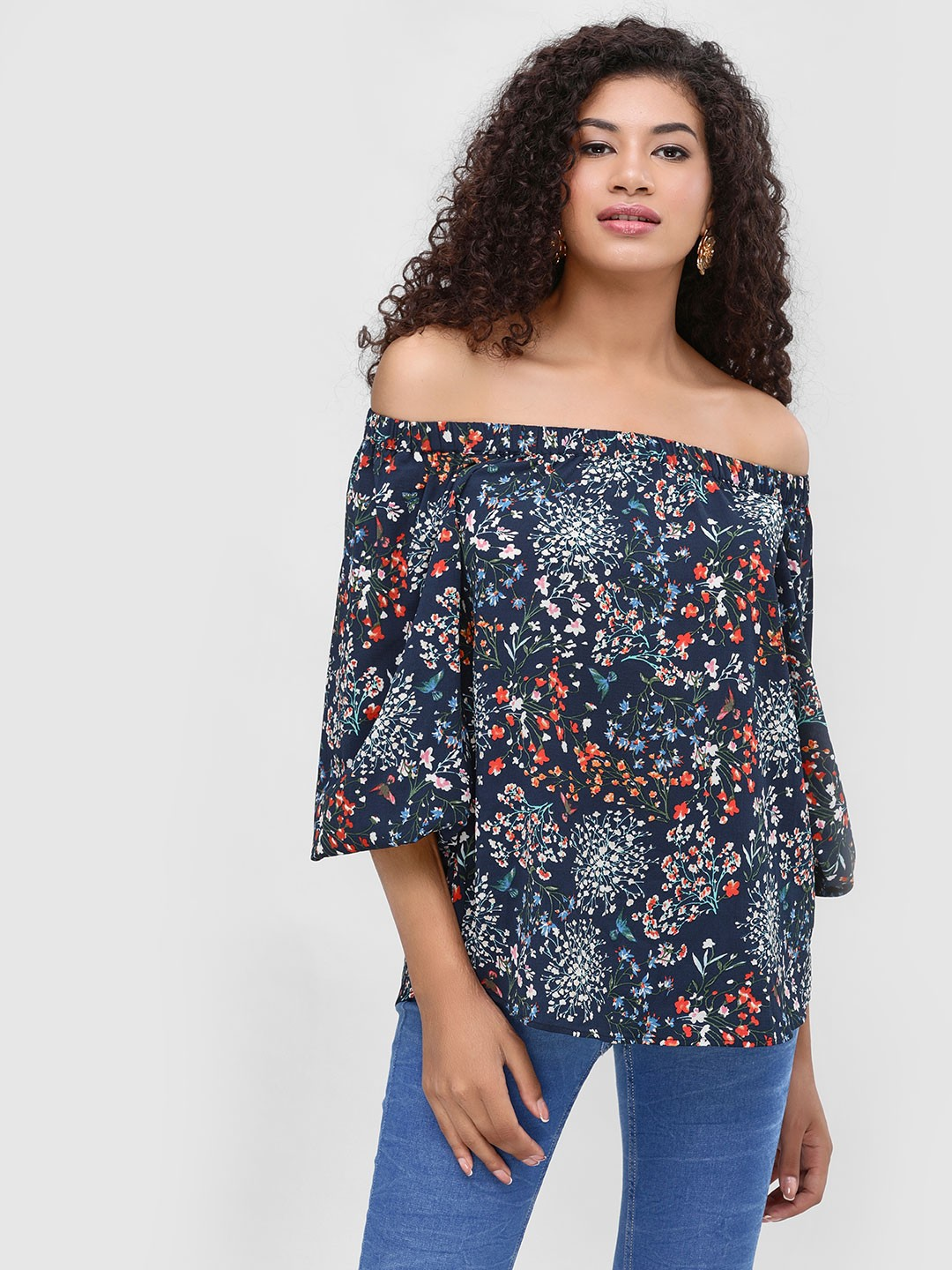 Cover Story Multi Printed Off Shoulder Top 1