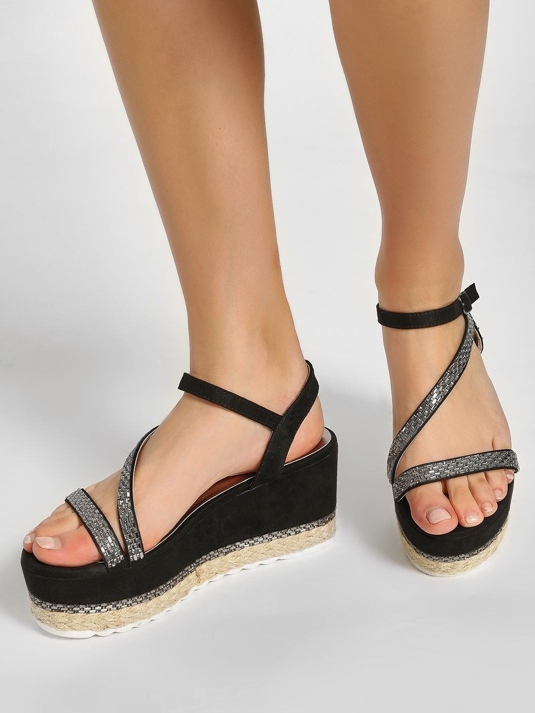 Happy Feet Black Espadrille Multi Strap Wedges 1