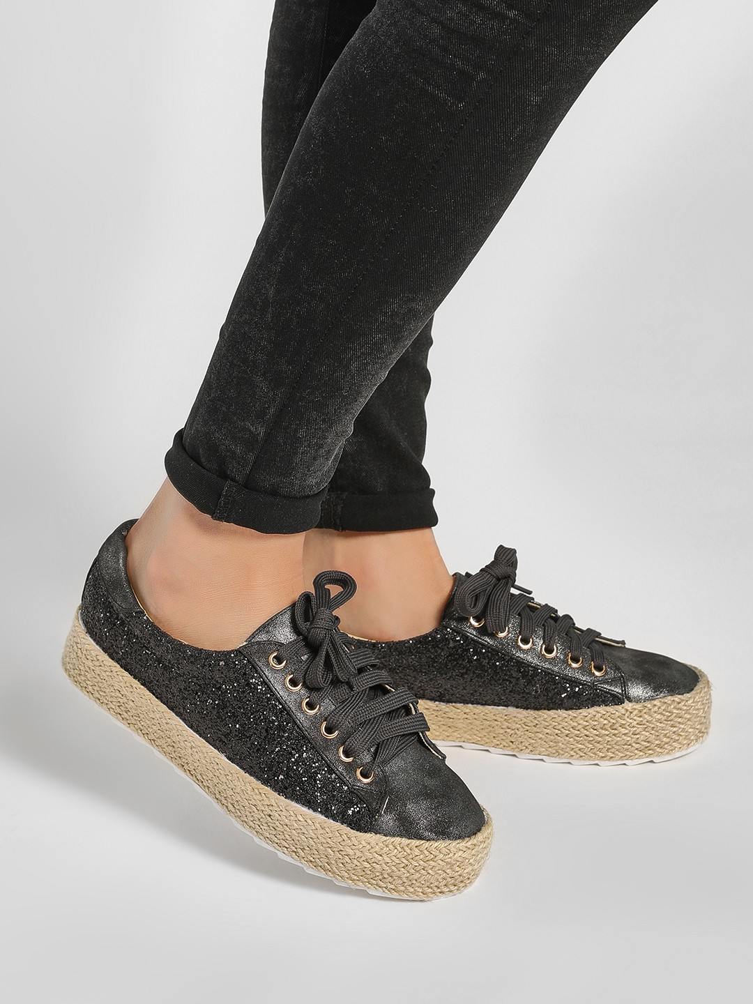 Happy Feet Black Stackable Glitter Trainers 1