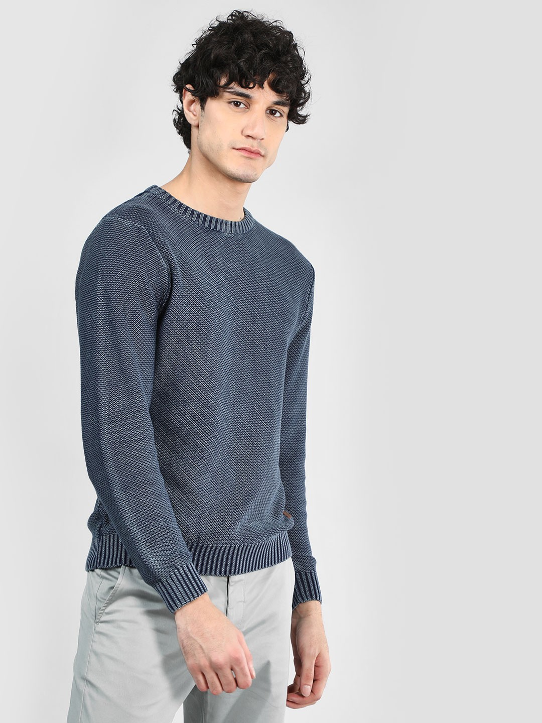 Flying Machine Navy Washed Textured Pullover 1