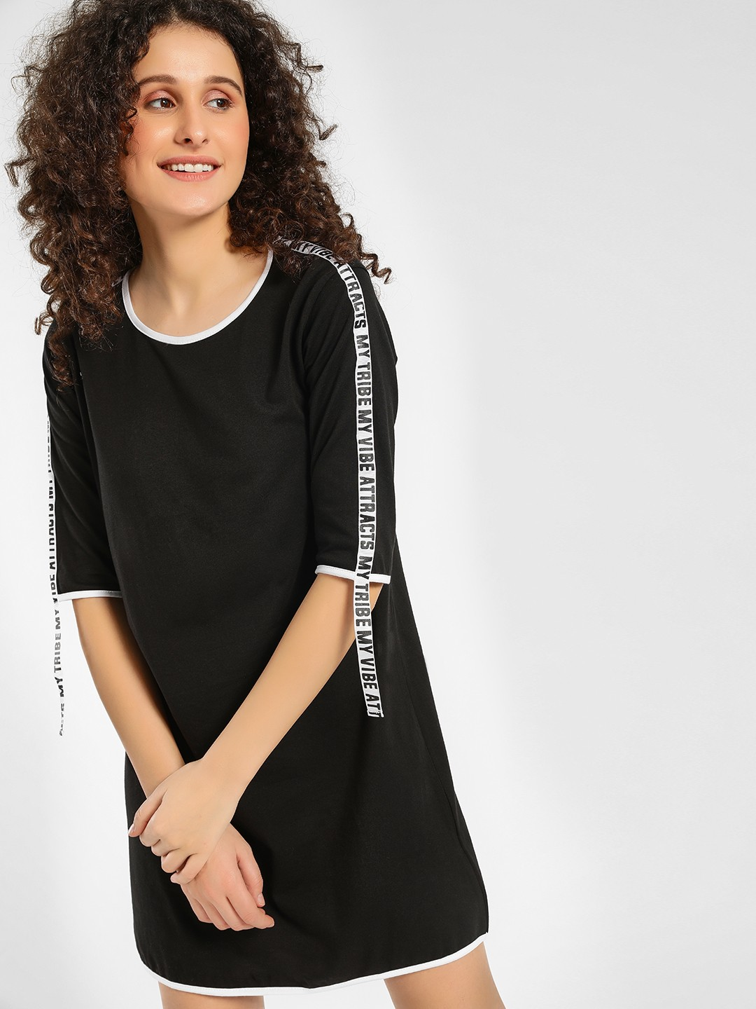 KOOVS Black Slogan Tape Shift Dress 1
