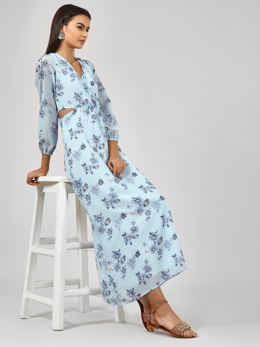 KOOVS Blue Cutout Floral Maxi Dress 1