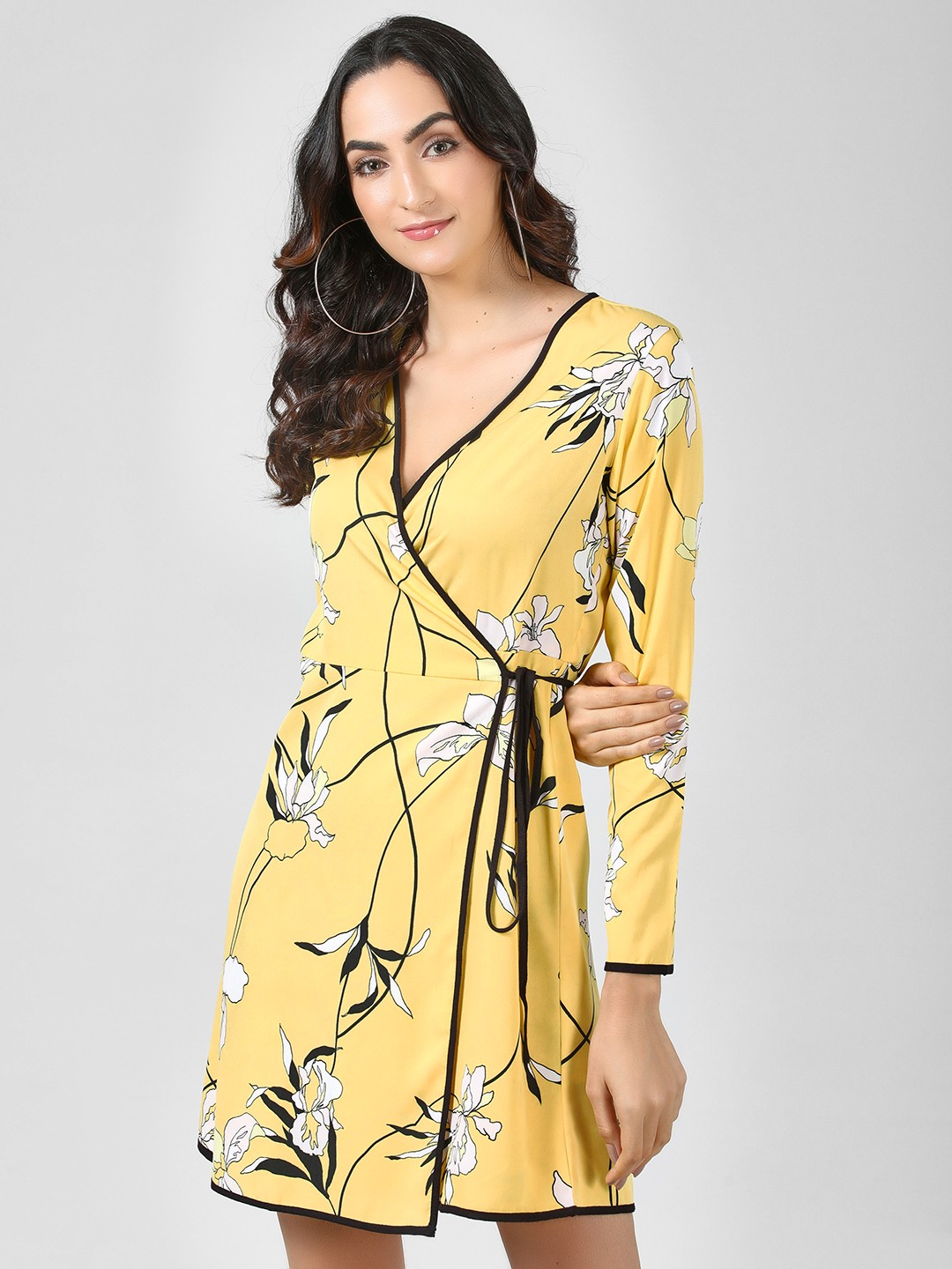 KOOVS Yellow Floral Wrap Shift Dress 1