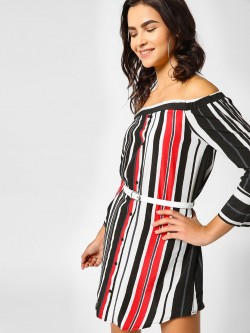 Lola May Striped Bardot Shirt Dress