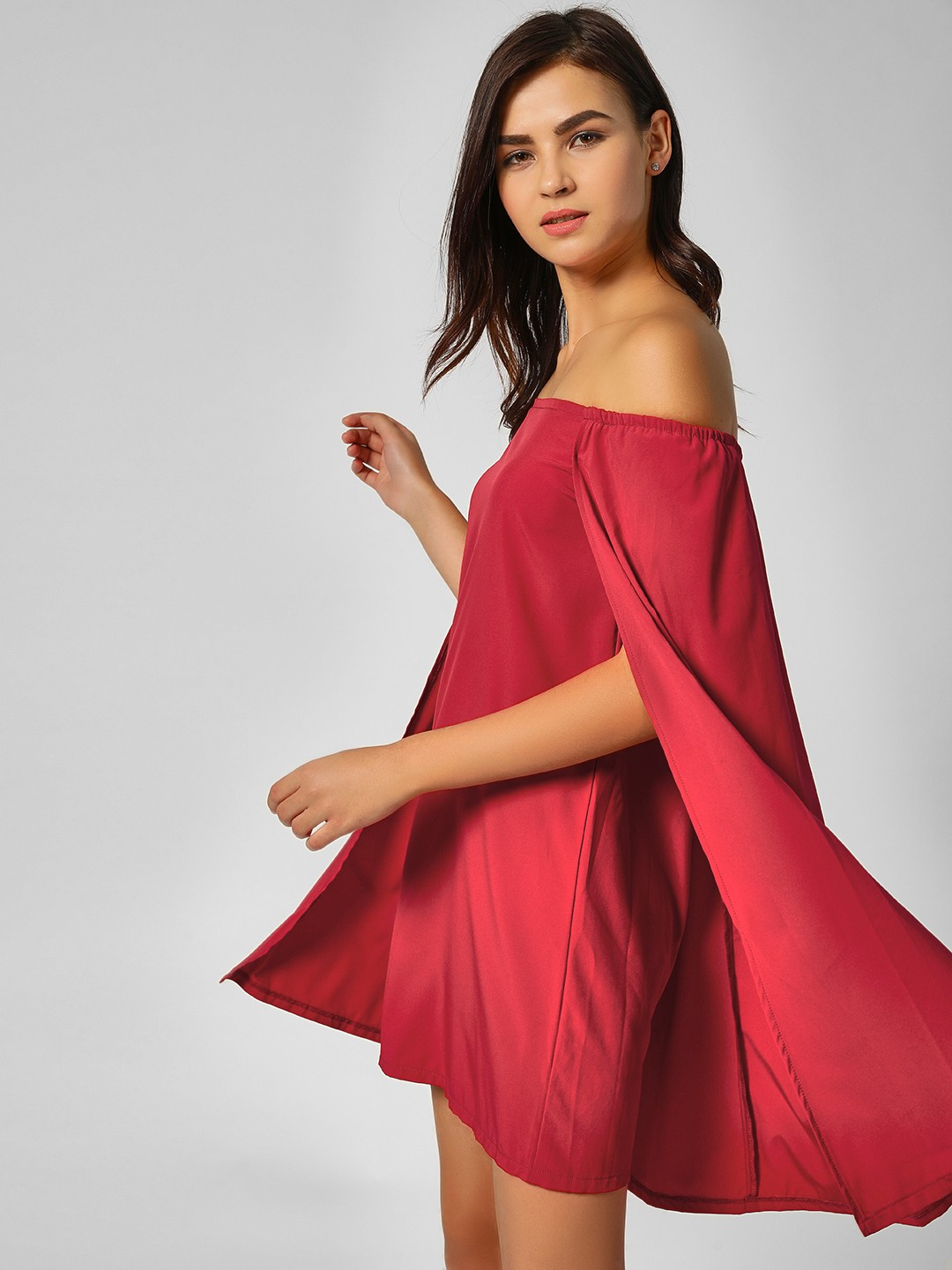 Lola May Red Off Shoulder Cape Dress 1
