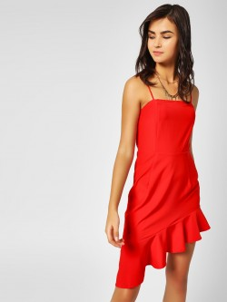 Lola May Ruffled Hem Asymmetric Dress