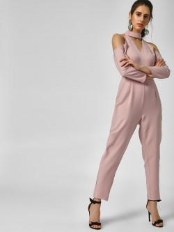 Lola May Cold Shoulder Cutwork Jumpsuit