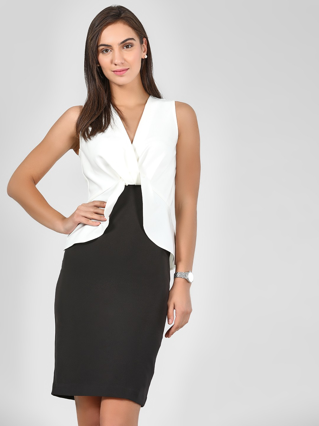 KOOVS WHITE/BLACK Colour Block Bodycon Dress 1