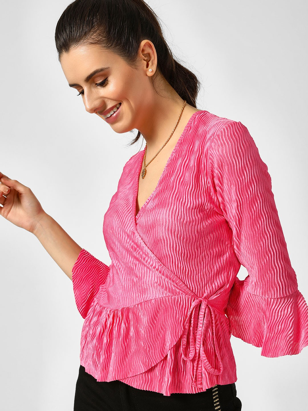 Missi Clothing Pink Frill Pleated Wrap Top 1